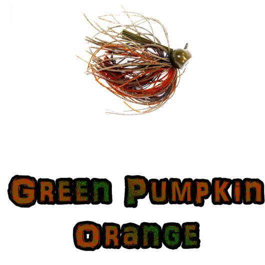 Green/Pumpkin Orange football jig Lock-em-Up Lures